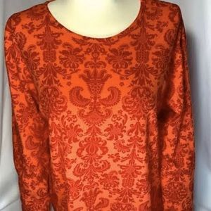 Orvis Womens M Top Long Sleeve T Red Damask Round